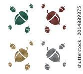 oak nut with plaid pattern...   Shutterstock .eps vector #2014889375