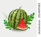 watermelon and juicy slices ...   Shutterstock .eps vector #2014899365