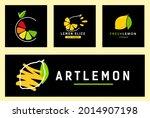 set abstract logo lemon slice...   Shutterstock .eps vector #2014907198