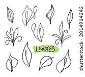 set of leaves on a white...   Shutterstock .eps vector #2014914242