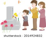 a family who visit to a grave... | Shutterstock .eps vector #2014924832