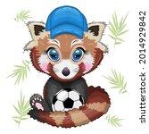 red panda boy in blue cap hat... | Shutterstock .eps vector #2014929842