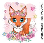 fox is a cute character with... | Shutterstock .eps vector #2014929998