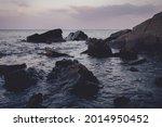Sea Rocky Coast  Evening Sunset ...