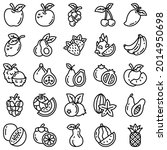 fruits outline vector icon set   Shutterstock .eps vector #2014950698
