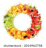 fruit and berries in juice...   Shutterstock .eps vector #2014962758