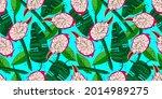 exotic red dragon fruit cutaway ...   Shutterstock .eps vector #2014989275
