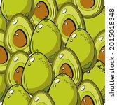avocado pattern. avocado whole...   Shutterstock .eps vector #2015018348