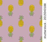 pineapple cute seamless pattern ... | Shutterstock .eps vector #2015043188