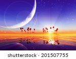 big moon over purple sunset at... | Shutterstock . vector #201507755