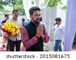 Small photo of New Delhi, India-June 5 2019: Minister of State in the Ministry of Finance Anurag Thakur during an Eid Milan programme on the occasion of Eid-ul-Fitr, at Shahnwaz Hussain residence
