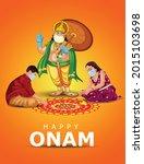 happy onam greetings vector...   Shutterstock .eps vector #2015103698