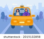 woman using taxi flat vector... | Shutterstock .eps vector #2015132858