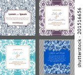 wedding invitation cards with... | Shutterstock . vector #201516656