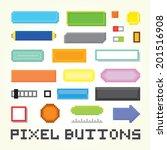pixel art buttons vector set | Shutterstock .eps vector #201516908