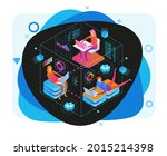 people interacting with... | Shutterstock .eps vector #2015214398