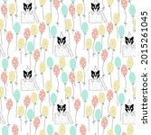 cat or dog pattern with... | Shutterstock .eps vector #2015261045