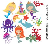 mermaids vector illustration | Shutterstock .eps vector #201528278