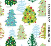 christmas trees with snow... | Shutterstock .eps vector #2015300018