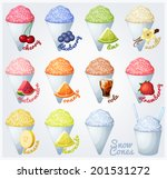 set of snow cones  shaved ice ... | Shutterstock .eps vector #201531272