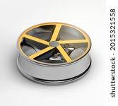 isometric 3d yellow car alloy...