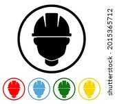 safety helmet icon with color...   Shutterstock .eps vector #2015365712