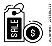 price tag trendy icon  glyph...