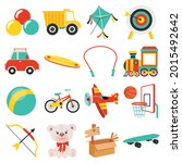 set of various colorful toys | Shutterstock .eps vector #2015492642