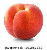 Ripe Peach On A White...