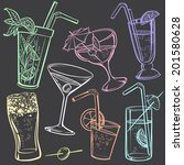 hand drawing icons of alcoholic ... | Shutterstock .eps vector #201580628