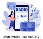 radio on air in smartphone app. ... | Shutterstock .eps vector #2015808512