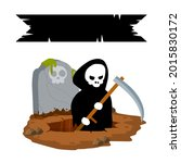 death in cemetery. scary... | Shutterstock .eps vector #2015830172