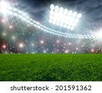 soccer ball on green stadium... | Shutterstock . vector #201591362