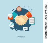 partnership flat illustration... | Shutterstock .eps vector #201595802