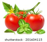 red ripe tomatoes with water... | Shutterstock .eps vector #201604115