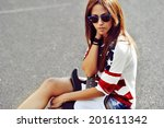portrait of beautiful brunette... | Shutterstock . vector #201611342