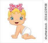 baby girl is wearing diaper and ... | Shutterstock .eps vector #2016123938