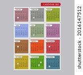 2022 year calendar. week starts ... | Shutterstock .eps vector #2016147512