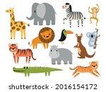 set of cartoon safari animal.... | Shutterstock .eps vector #2016154172