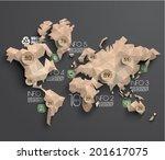 vector brown paper polygonal... | Shutterstock .eps vector #201617075
