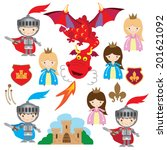 and,cartoon,castle,dragon,illustration,knight,medieval,princess,red,vector