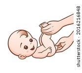 vector cartoon of wipe baby... | Shutterstock .eps vector #2016216848