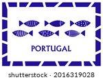 portugal fish blue card banner... | Shutterstock .eps vector #2016319028