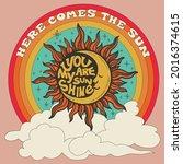 70's groovy retro sunshine... | Shutterstock .eps vector #2016374615