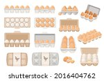Set Of Eggs In Boxes  Farmer...