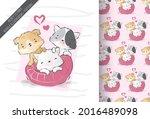 cute animal baby kitten and...   Shutterstock .eps vector #2016489098