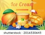 3d mango ice cream ad.... | Shutterstock .eps vector #2016530645