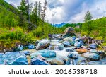 Stones in the river in a mountain valley