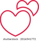 two hearts icon. double heart...   Shutterstock .eps vector #2016541772