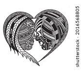 polynesian chest tattoo. redraw ... | Shutterstock .eps vector #2016568805